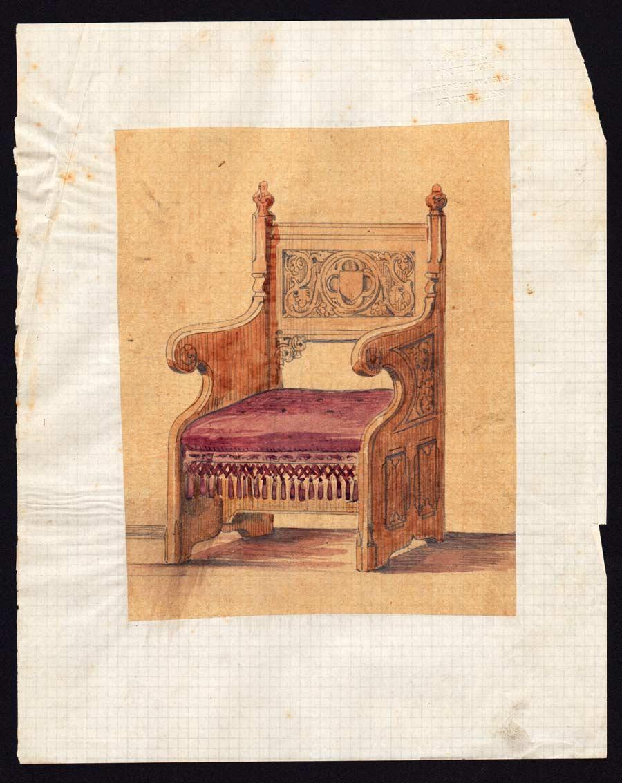 Dessin d 39 une chaise du moyen age r hauss l aquarelle ebay for Chaise dessin