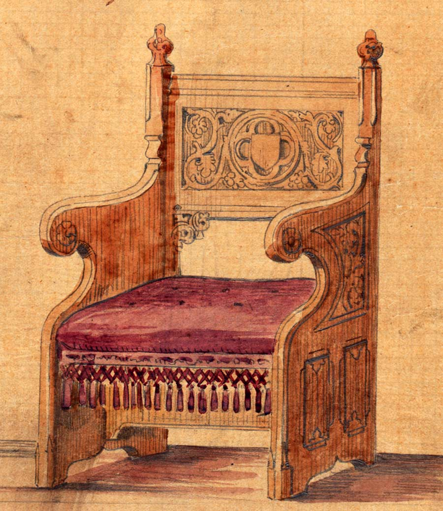 dessin d 39 une chaise du moyen age r hauss l aquarelle ebay. Black Bedroom Furniture Sets. Home Design Ideas