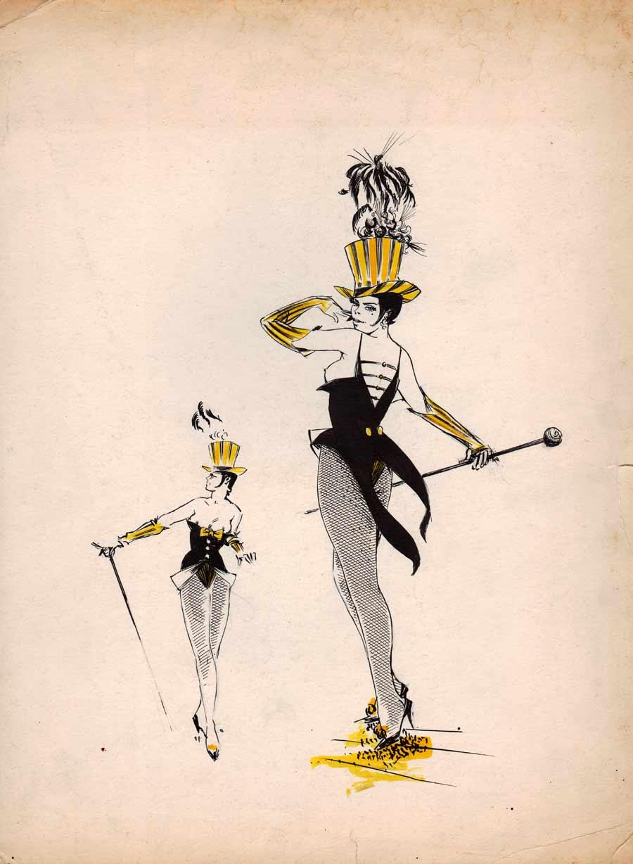 la danseuse de cabaret dessin pour une illustration en. Black Bedroom Furniture Sets. Home Design Ideas